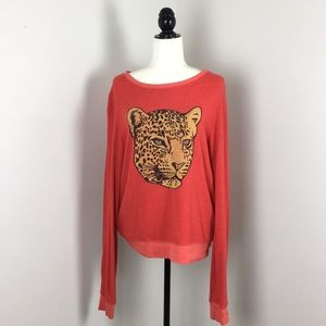 Wildfox Red Leopard Crewneck Sweatshirt